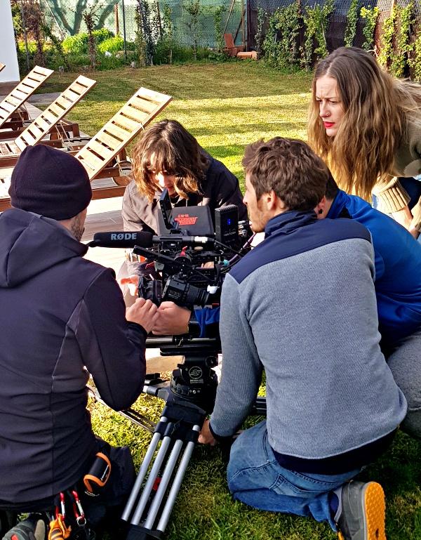 Familias, equipo de filmación día de rodaje